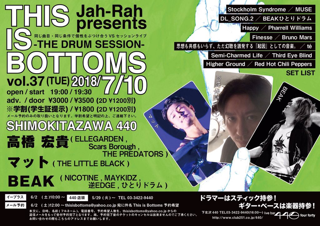 "Jah-Rah presents ""This is Bottoms"" vol.37 -THE DRUM SESSION-"