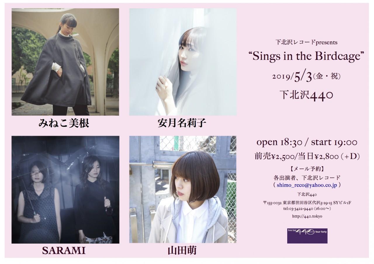 """下北沢レコードpresents """"Sings in the Birdcage"""" ※open/start時間が19:00/19:30に変更になりました。ご了承ください。"""